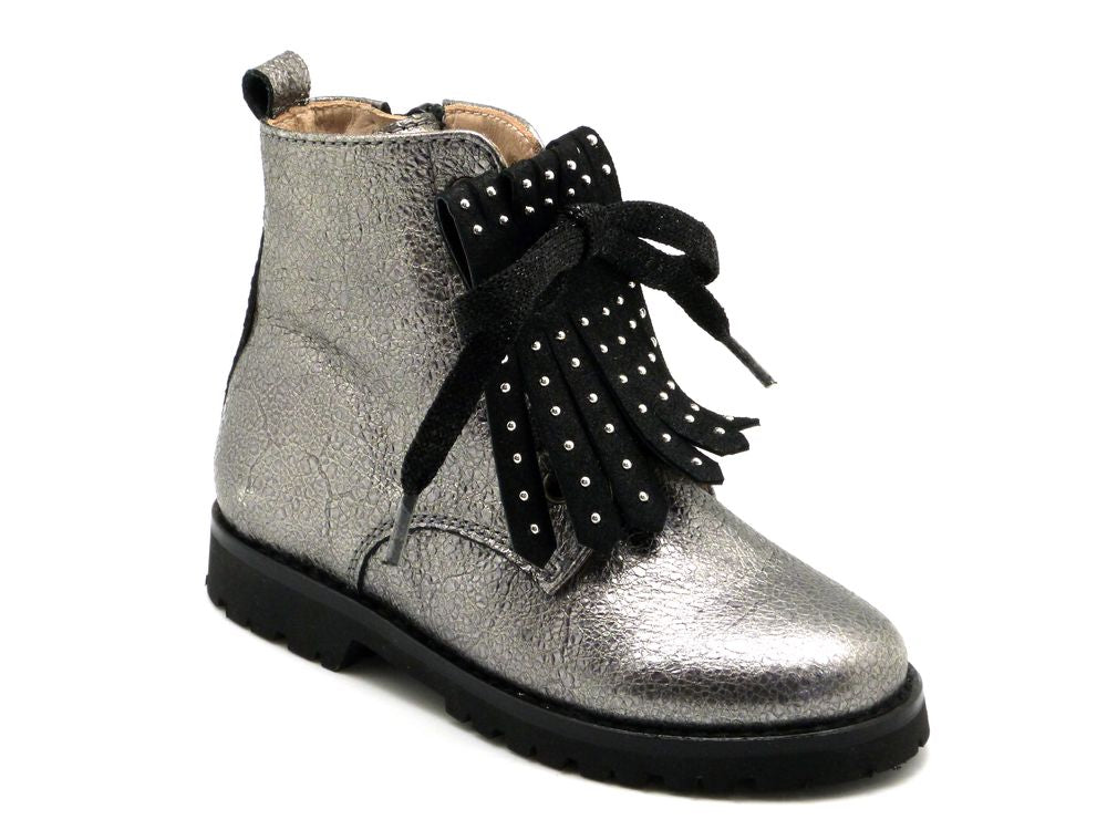 Beberlis silver metallic pebble with studded fringing leather ankle Boots - Girls Shoes-BEBERLIS-Hopscotch Shoes Australia