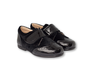 Black patent leather and velvet Brogue-Boys-Hopscotch-Shoes Australia