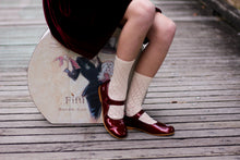 Burgundy patent leather mary jane with velcro closure-Girls Shoes-Hopscotch Shoes Australia