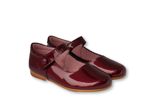 Burgundy patent leather mary jane with velcro closure-Girls Shoes-Hopscotch Shoes Australia.png