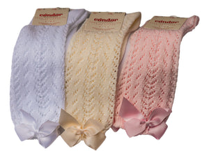 Condor White Ivory Pink Knee High Openwork socks with a bow- hopscotch shoes Australia