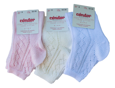 Condor Girls White/Ivory/Pink Ankle Openwork Socks