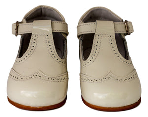 Cream baby t-bar bootie-Baby Shoes-Hopscotch Shoes Australia