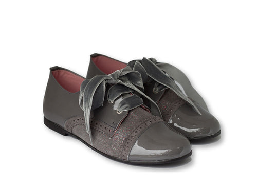 Dark Grey Girls Brogue with patent leather and velvet laces-Girls Shoes-Hopscotch Shoes Australia.jpg