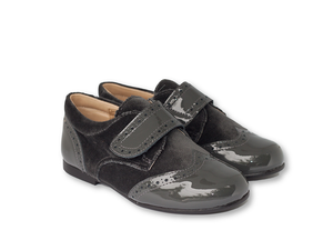 Dark Grey patent leather and velvet Brogue-Boys-Hopscotch-Shoes Australia
