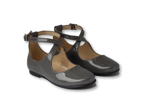 Dark grey patent leather mary jane with high back cris cross -Girls Shoes-Hopscotch Shoes Australia