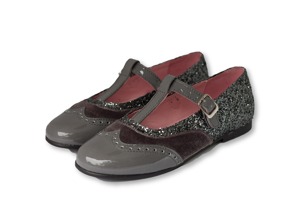 Dark grey t-bar mary jane with glitter, velvet and patent leather-Girls Shoes-Hopscotch Shoes Australia