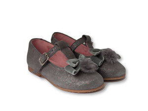 Grey glittery t-bar suede mary jane with pompon and velvet bow-Girls Shoes-Hopscotch Shoes Australia.png