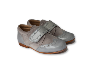 Light Grey patent leather and velvet Brogue-Boys-Hopscotch-Shoes Australia