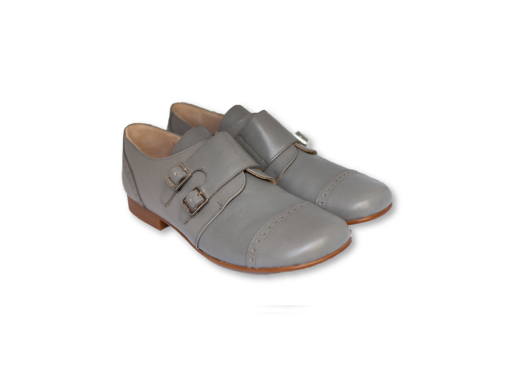 Light grey double buckle Oxford-Boys Shoes-BEBERLIS-Hopscotch Shoes Australia