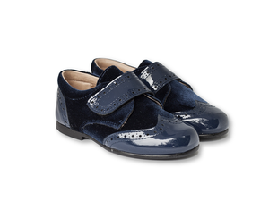 Navy patent leather and velvet Brogue-Boys-Hopscotch-Shoes Australia