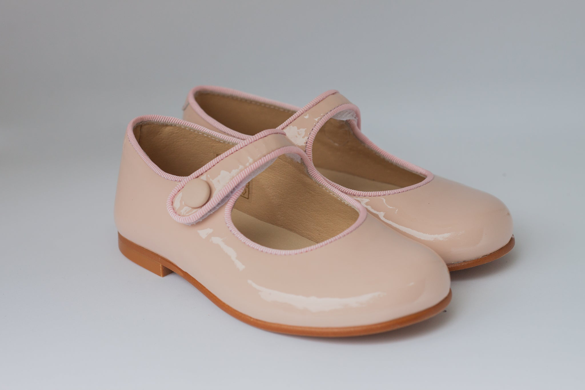 Nude pink patent leather mary jane with velcro closure and pink trimming-Girls Shoes-Hopscotch Shoes Australia.png