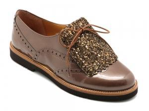 Beberlis Copper & Glitter Brogue.-Girls Shoes-BEBERLIS-Hopscotch Shoes Australia