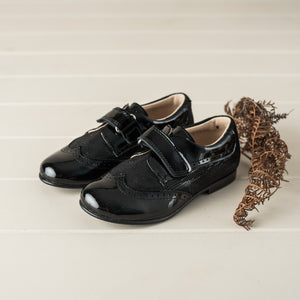eberlis Toddler/Boys classic black  Brogue Dress Shoes-Boys Shoes-BEBERLIS-Hopscotch Shoes Australia