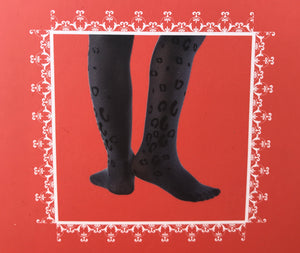 Serlei Ivory/Black Velvet Leopard tights-Accessories-Serlei-Hopscotch Shoes Australia