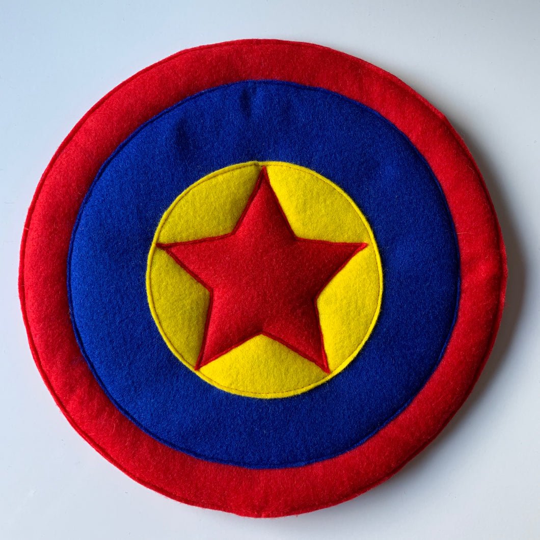 Superhero Red Star Felted Shield
