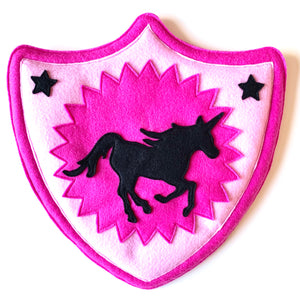 Ulla the Unicorn Felted Character Shield