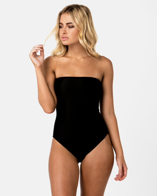 Brazil Black Strapless One-piece Plus-Size Blonde Australian Sustainable Swimwear Recycled Plastic Beachwear
