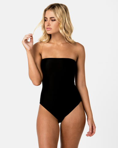 <b>Brazil</b><br>Black Strapless One Piece in Blackberry Scent<br> Sustainable Australian Swimwear