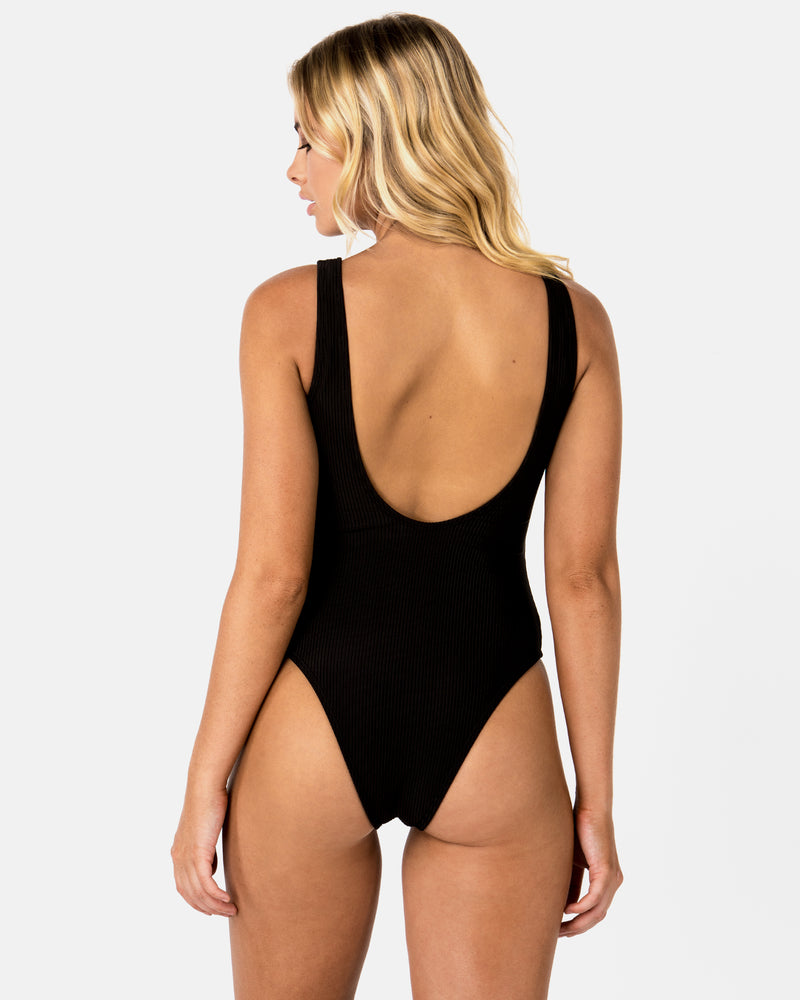 Flamingo Black One-piece Plus-Size Blonde Australian Sustainable Swimwear Recycled Plastic Beachwear