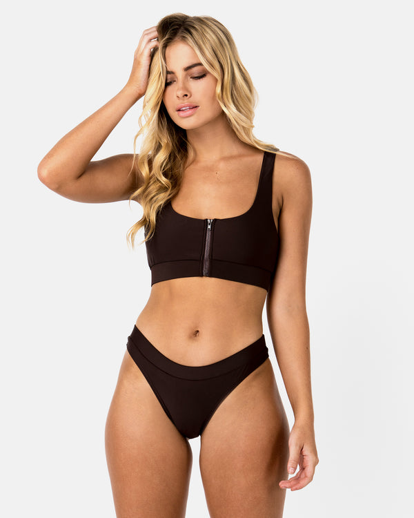 Aruba Brown Chocolate Bikini Crop Blonde Australian Sustainable Swimwear Recycled Plastic Beachwear