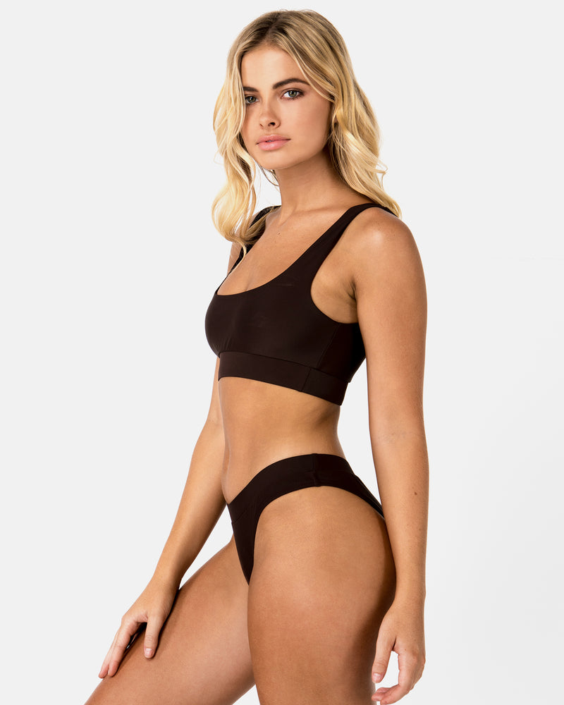 Cuba Brown Chocolate Bikini Crop Blonde Australian Sustainable Swimwear Recycled Plastic Beachwear