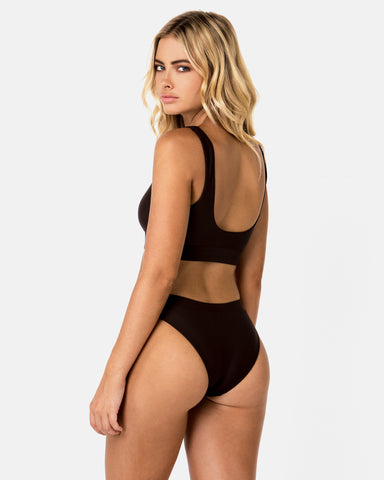 Ecuador Brown Chocolate Bikini Bottom Cheeky Brief Blonde Australian Sustainable Swimwear Recycled Plastic Beachwear