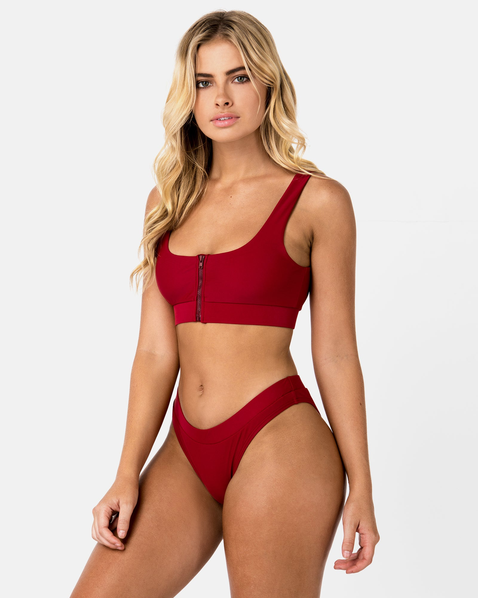 <b>Aruba</b><br>Red Pomegranate Zip Top<br>Sustainable Australian Swimwear