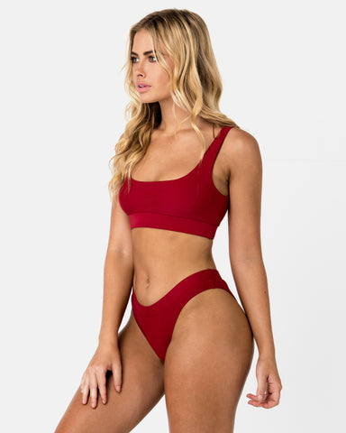 <b>Cuba</b><br>Red Pomegranate Crop Top<br>Sustainable Australian Swimwear