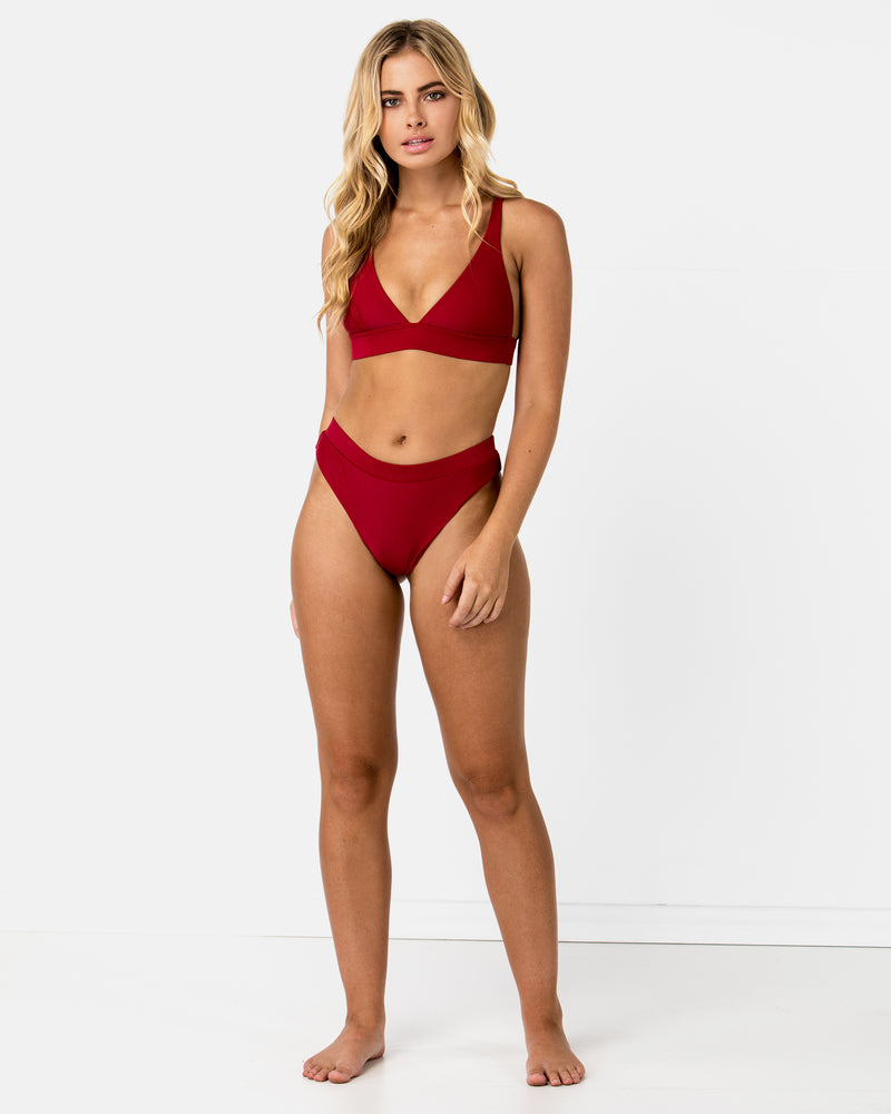Chile Red Pomegranate Bikini Triangle Blonde Australian Sustainable Swimwear Recycled Plastic Beachwear