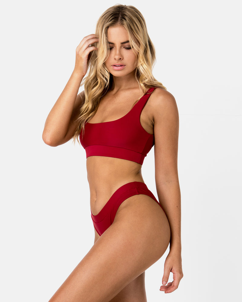 Ecuador Red Pomegranate Bikini Bottom Cheeky Brief Blonde Australian Sustainable Swimwear Recycled Plastic Beachwear