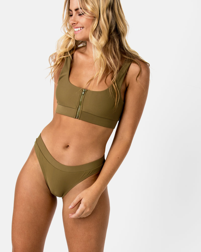 Aruba Green Apple Bikini Crop Blonde Australian Sustainable Swimwear Recycled Plastic Beachwear