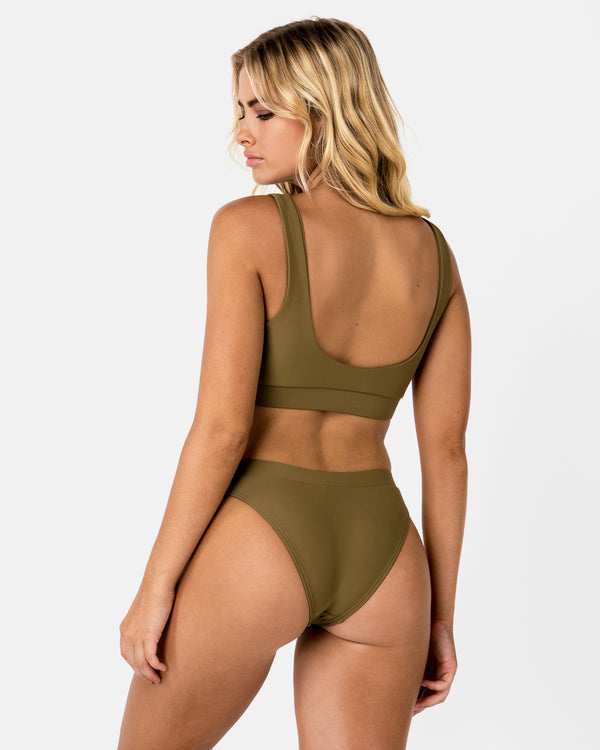 Ecuador Green Apple Bikini Bottom Cheeky Brief Blonde Australian Sustainable Swimwear Recycled Plastic Beachwear