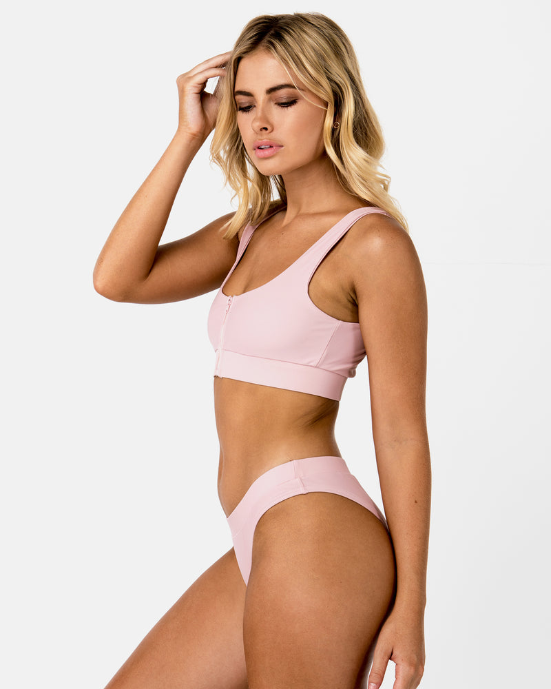 Aruba Pink Lychee Bikini Crop Blonde Australian Sustainable Swimwear Recycled Plastic Beachwear