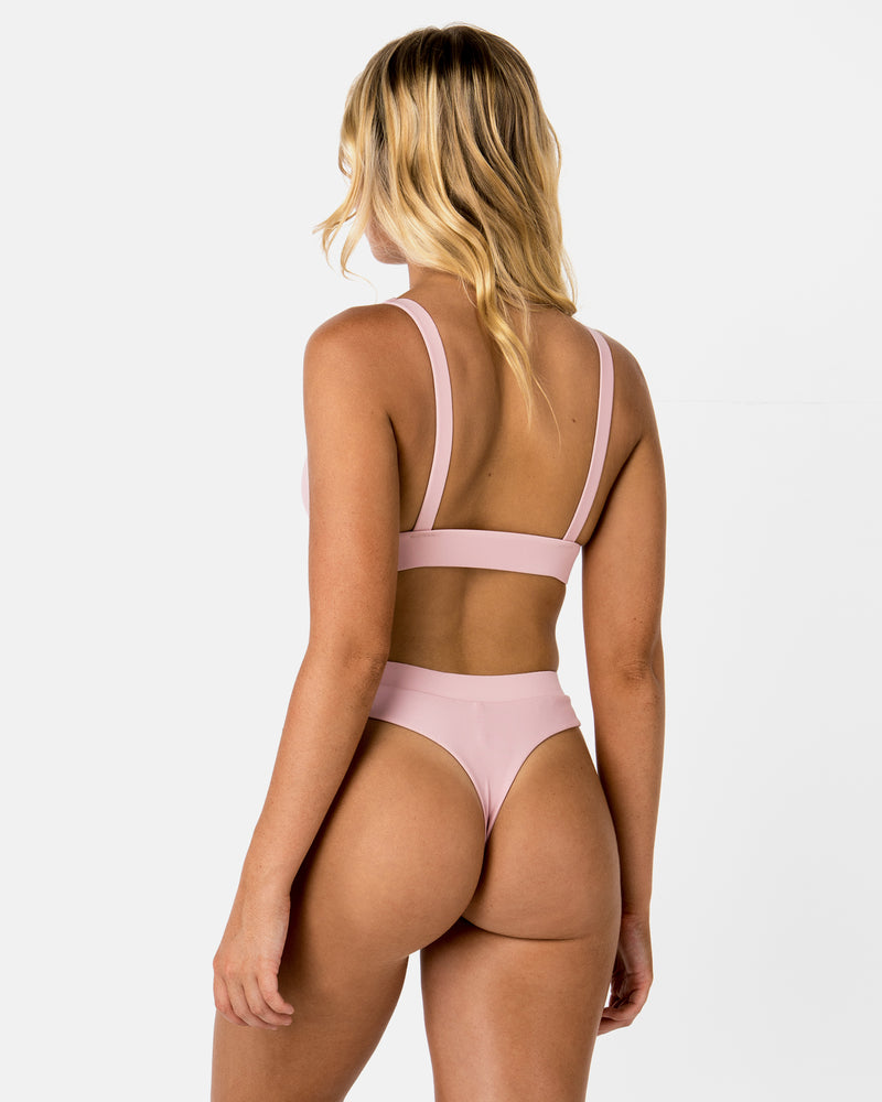 Chile Pink Lychee Bikini Triangle Blonde Australian Sustainable Swimwear Recycled Plastic Beachwear