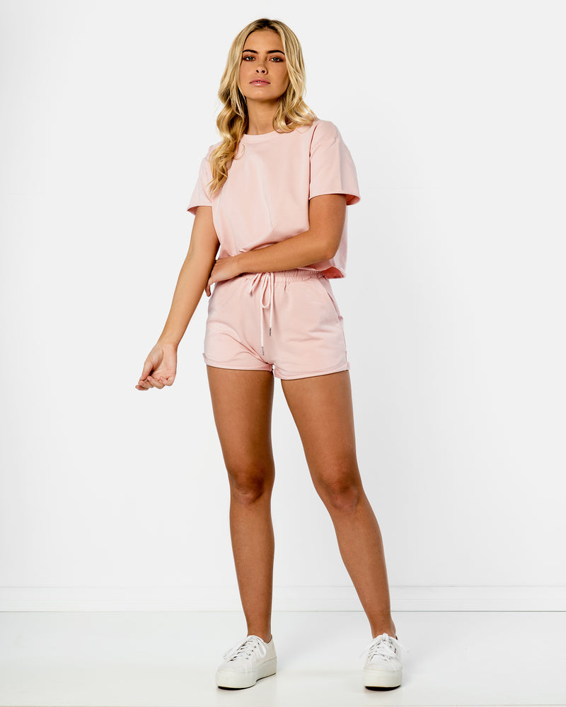 California Pink Track Pants Shorts Tee Blonde Australian Sustainable Swimwear Recycled Plastic Beachwear