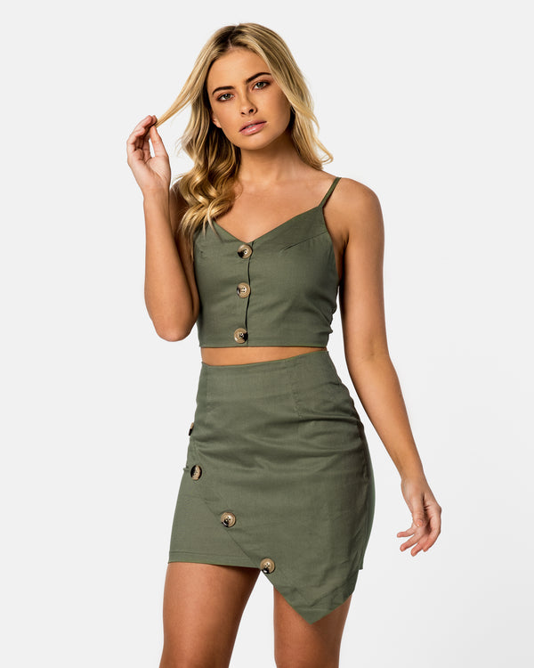 Boracay Khaki Skirt & Top Set