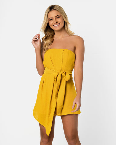 Cartagena Yellow Mustard Playsuit Blonde Australian Sustainable Swimwear Recycled Plastic Beachwear