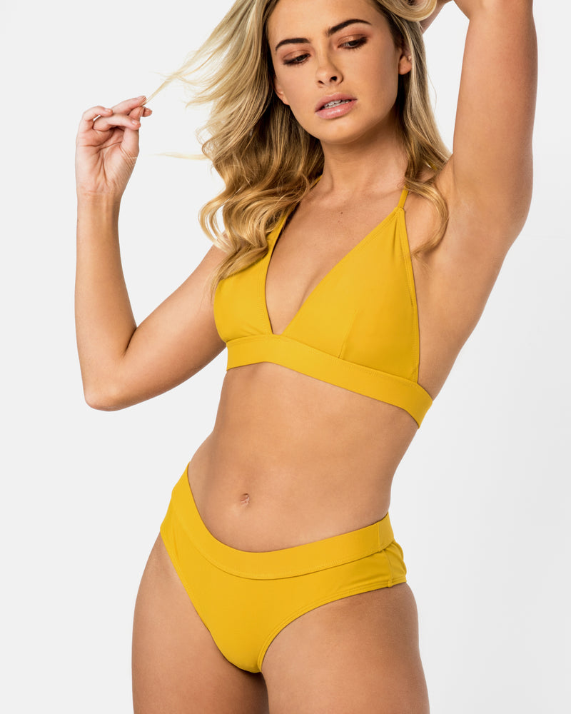 Crete Pineapple Yellow Bikini Bottom Full Brief Blonde Australian Sustainable Swimwear Recycled Plastic Beachwear