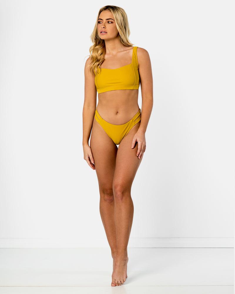 Amalfi Yellow Pineapple Bikini Crop Blonde Australian Sustainable Swimwear Recycled Plastic Beachwear