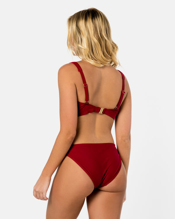 Sicily Pomegranate Red Bikini Bottom Cheeky Brief Blonde Australian Sustainable Swimwear Recycled Plastic Beachwear