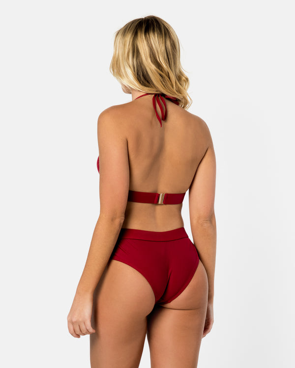 Crete Red Pomegranate Bikini Bottom Full Brief Blonde Australian Sustainable Swimwear Recycled Plastic Beachwear