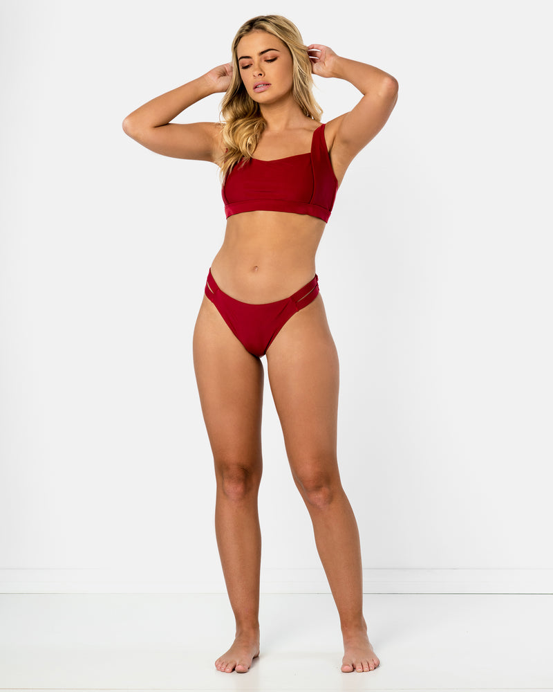 Amalfi Red Pomegranate Bikini Crop Blonde Australian Sustainable Swimwear Recycled Plastic Beachwear