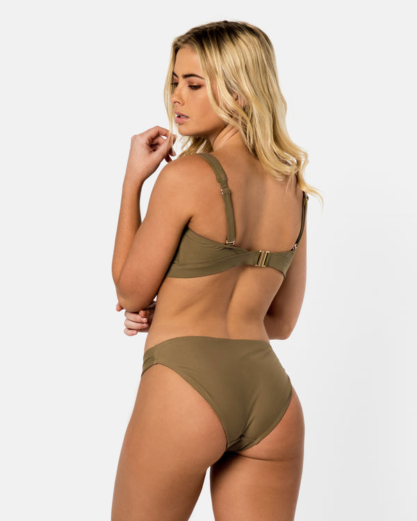 Sicily Green Apple Bikini Bottom Cheeky Brief Blonde Australian Sustainable Swimwear Recycled Plastic Beachwear
