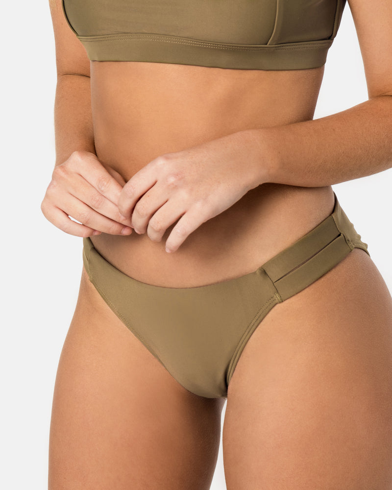 Sicily Apple Green Bikini Bottom Cheeky Brief Blonde Australian Sustainable Swimwear Recycled Plastic Beachwear