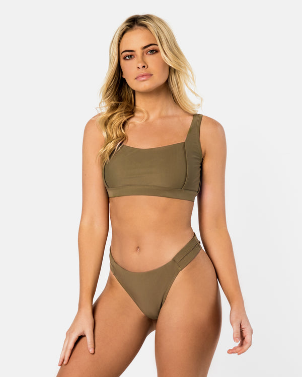 Amalfi Green Apple Bikini Crop Blonde Australian Sustainable Swimwear Recycled Plastic Beachwear