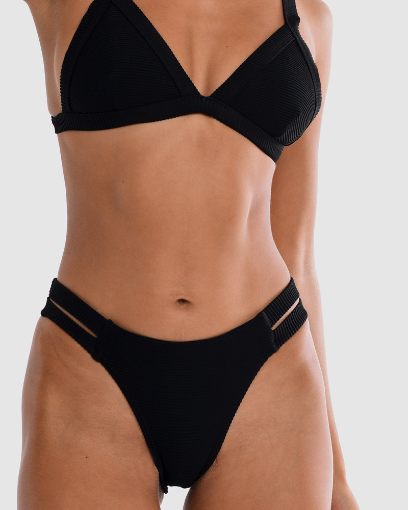 Sicily Blackberry Black Bikini Bottom Cheeky Brief Blonde Australian Sustainable Swimwear Recycled Plastic Beachwear