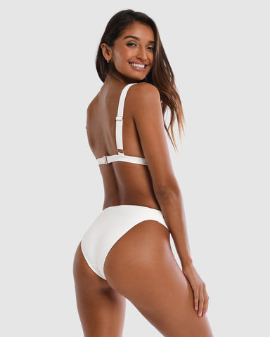 <b>Sicily</b><br>White Pina Colada Bikini Bottom<br>Sustainable Australian Swimwear