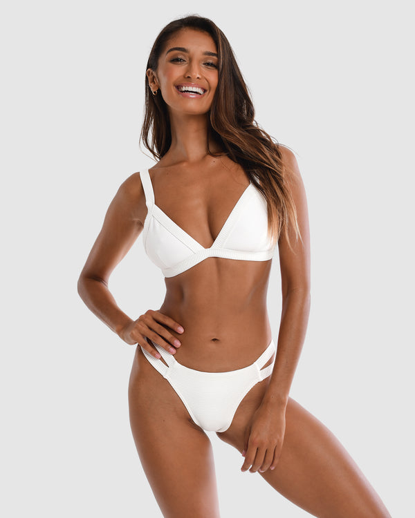 Positano White Pina Colada Triangle Bikini Top Plus-Size Blonde Australian Sustainable Swimwear Recycled Plastic Beachwear