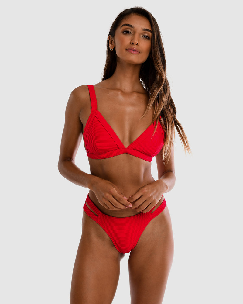 Positano Red Strawberry Triangle Bikini Top Plus-Size Blonde Australian Sustainable Swimwear Recycled Plastic Beachwear